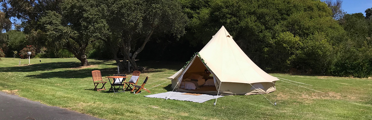 glamping tent outside